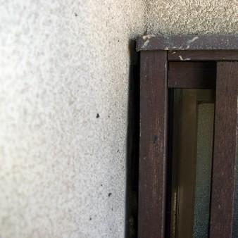 工事前:コウモリが、面格子と外壁との約15㎜程の隙間から侵入している。