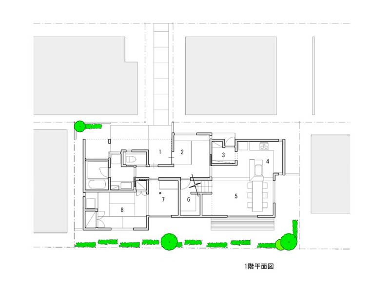 1 ポーチ 2 玄関 3 食品庫 4 台所 5 居間・食堂 6 納戸 7 小間 8 和室1 9 アトリエ1 <br />10 アトリエ2 11 寝室 12 和室2 13 テラス 14 ロフト(書庫)