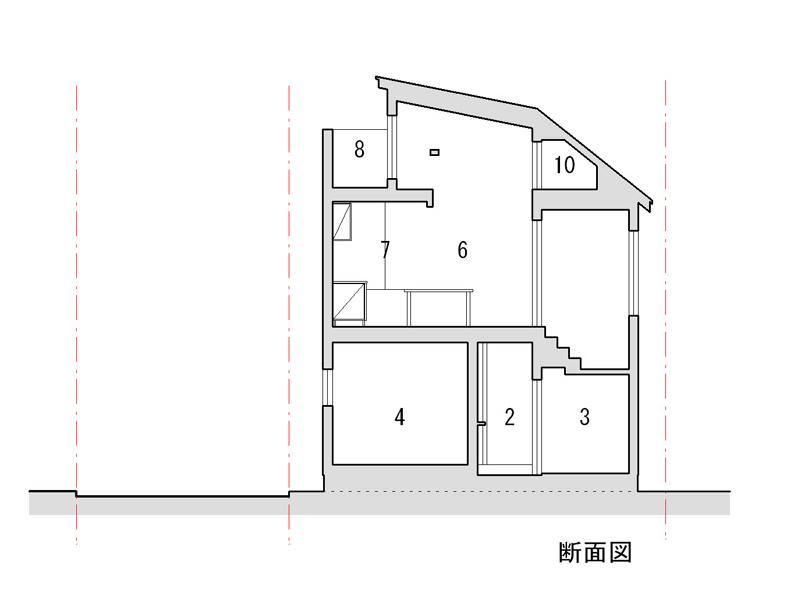 1 車庫 2 玄関 3 下足室 4 寝室 5 予備室 6 食堂 7 台所 8 テラス 9 ロフト 10 小屋裏収納