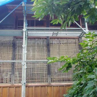 1:外壁 土壁の下地となる竹小舞の施工状況。