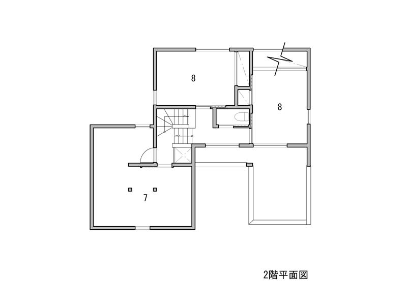 1 車庫 2 玄関 3 SIC 4 台所 5 居間、食堂 6 小間 7 小屋裏収納 8 寝室