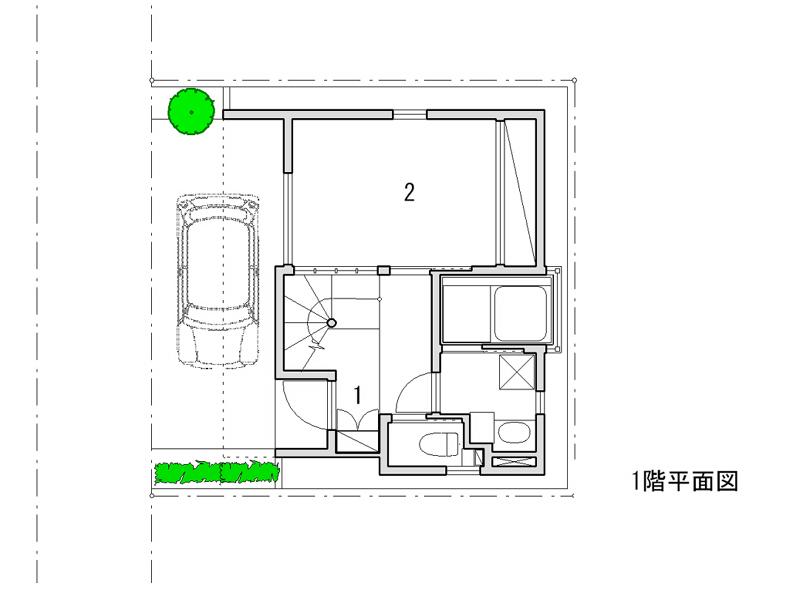 1 玄関 2 寝室 3 食堂 4 台所 5 小間 6 テラス 7 ロフト