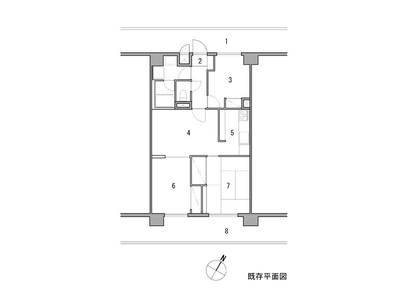 ※既存 1 共用廊 2 玄関 3 洋室(納戸) 4 居間、食堂 5 台所 6 子供室 7 寝室  8 バルコニー