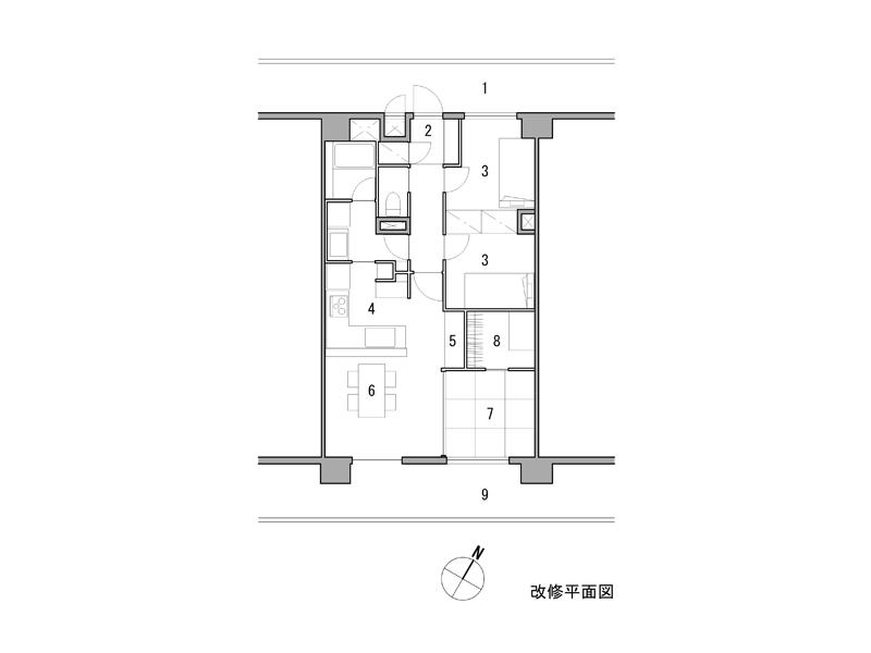※改修 1 共用廊下 2 玄関 3 子供室 4 台所 5 主婦コーナー 6 居間、食堂 7 寝室 8 WIC 9 バルコニー