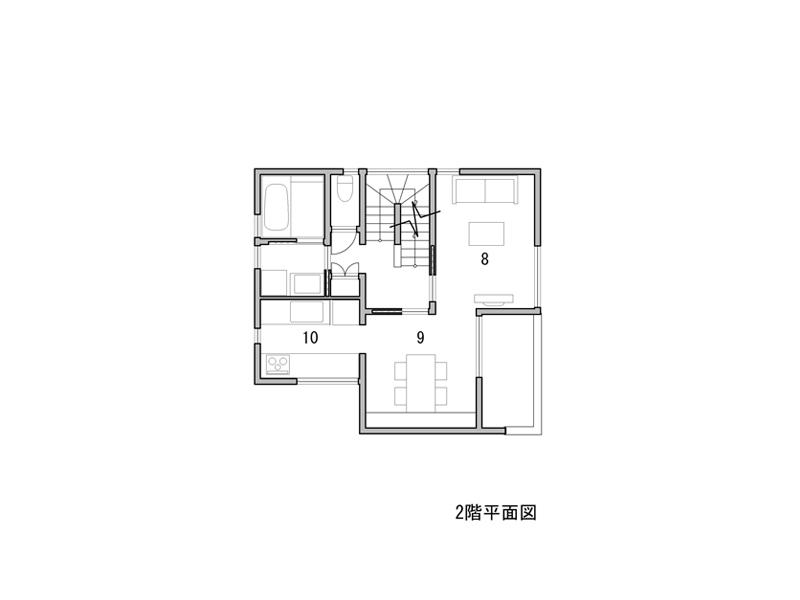 1 駐輪場 2 ポーチ 3 玄関 4 和室 5 小間 6 寝室 7 WIC 8 居間 9 食堂 10 台所