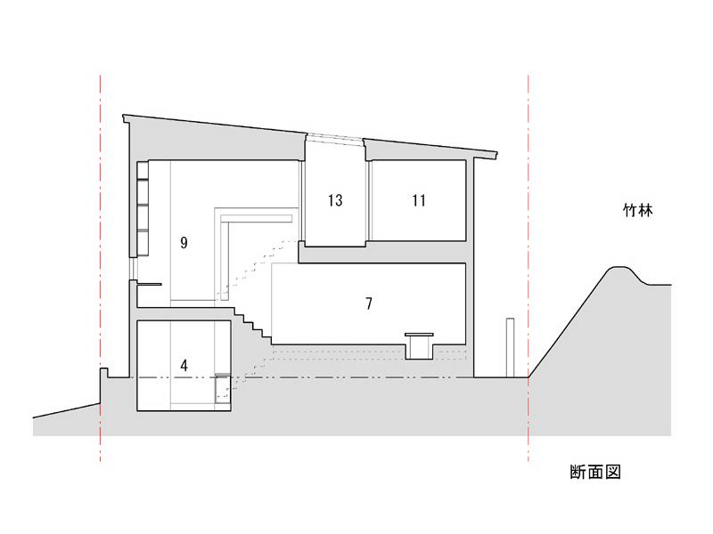 1 車庫 2 縁側 3 ポーチ 4 玄関  5 和室 6 書斎 7 居間 8 台所 <br />9 アトリエ 10 主寝室 11 寝室 12 納戸 13 テラス