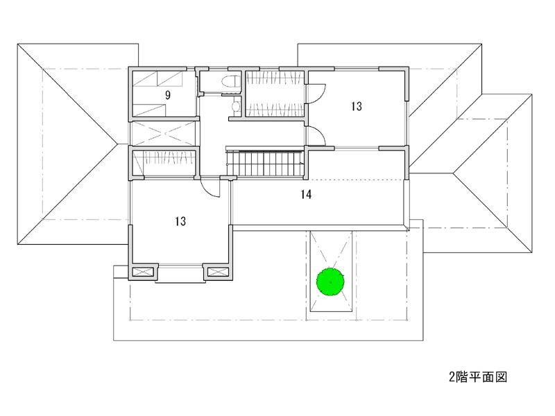 1 ポーチ 2 中庭 3 玄関 4 居間 5 食堂 6 台所 7 土間 8 食品庫 <br />9 納戸 10 和室 11 広緑 12 主寝室 13 寝室 14 テラス
